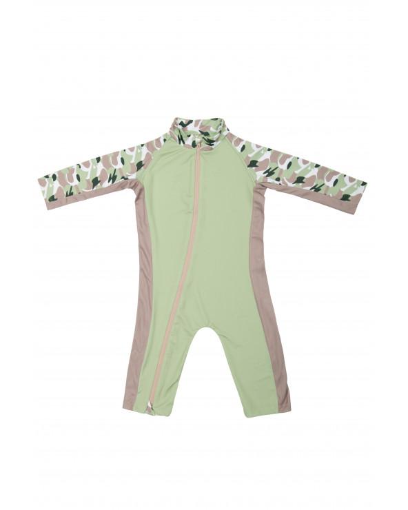 KLEINKINDER BADEANZUG UPF 50 - Camo Green Overalls Stonz®