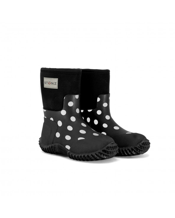 Sold Out                          KINDER NEOPRENSTIEFEL WEST - POLKA DOT BLACK&WHITE Multi-Saison Stiefel West Stonz®