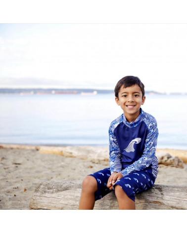 KINDER UV-SHORTS BADEHOSE UPF 50 - Navy Waves Shorts Stonz®