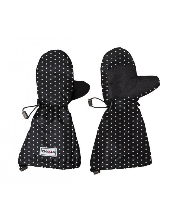 KINDER WINTERHANDSCHUHE FÄUSTLINGE - Polka Dot Black&White Jugend Handschuhe Stonz®